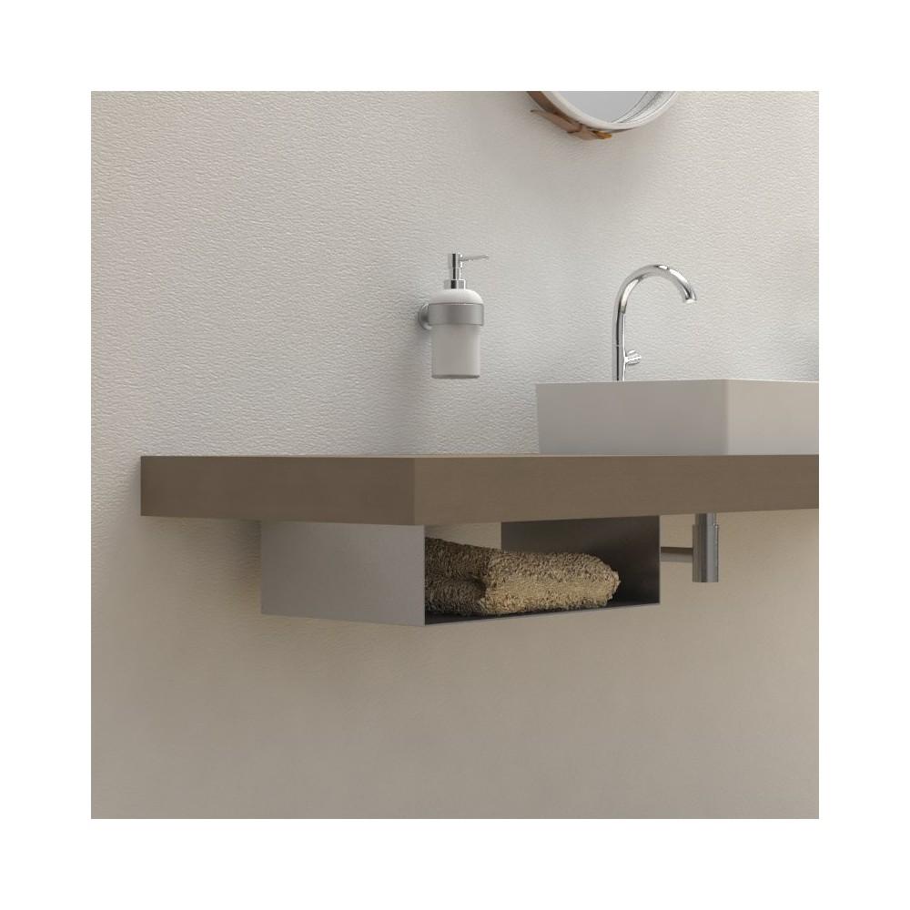 Porte serviette support porte serviette console salle de for Meuble sous evier salle de bain