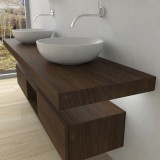 Wash basin shelf with LED