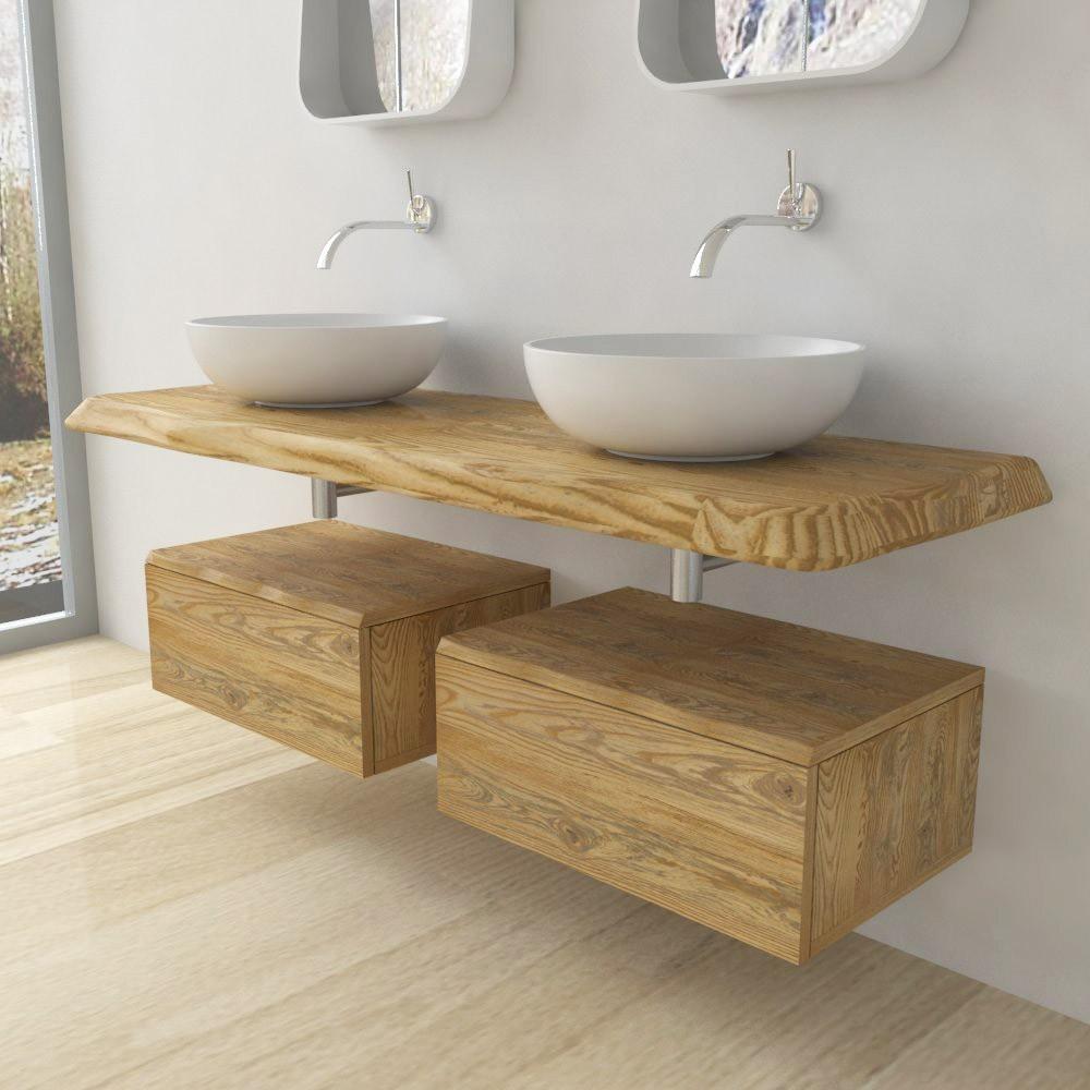 Solid Wooden Wash Basin Shelf Irregular Edge