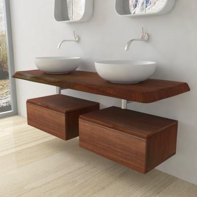 Console salle de bain bois massif - bord irrégulier