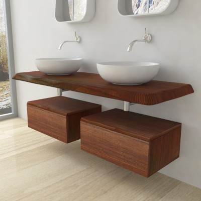 Solid wooden wash basin shelf - irregular edge