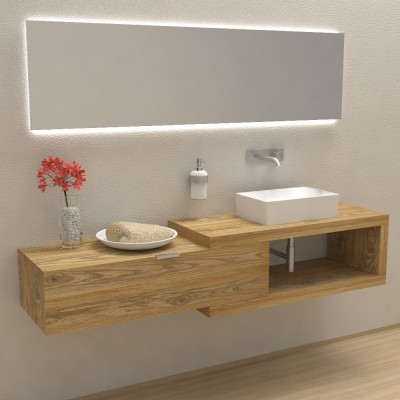 Arena 100 in solid wood - Complete bathroom furniture