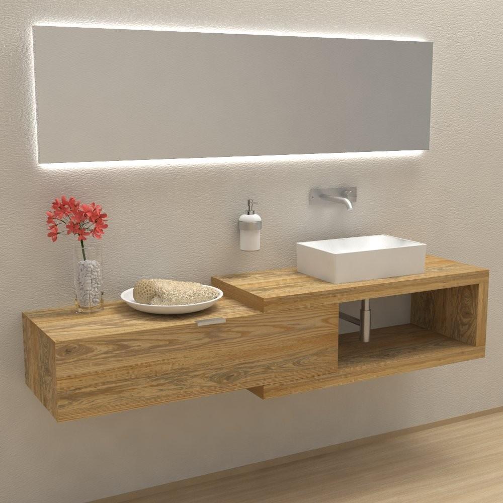 Mobili e arredo bagno in legno massello arena 100 mobile for Mobile bagno minimal