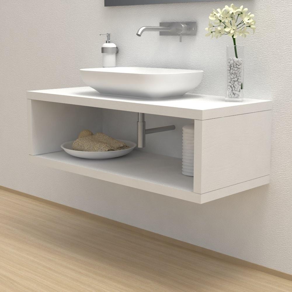 Mensola lavabo con vano portaoggetti
