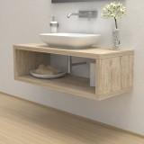 Wash basin shelf with storage compartment