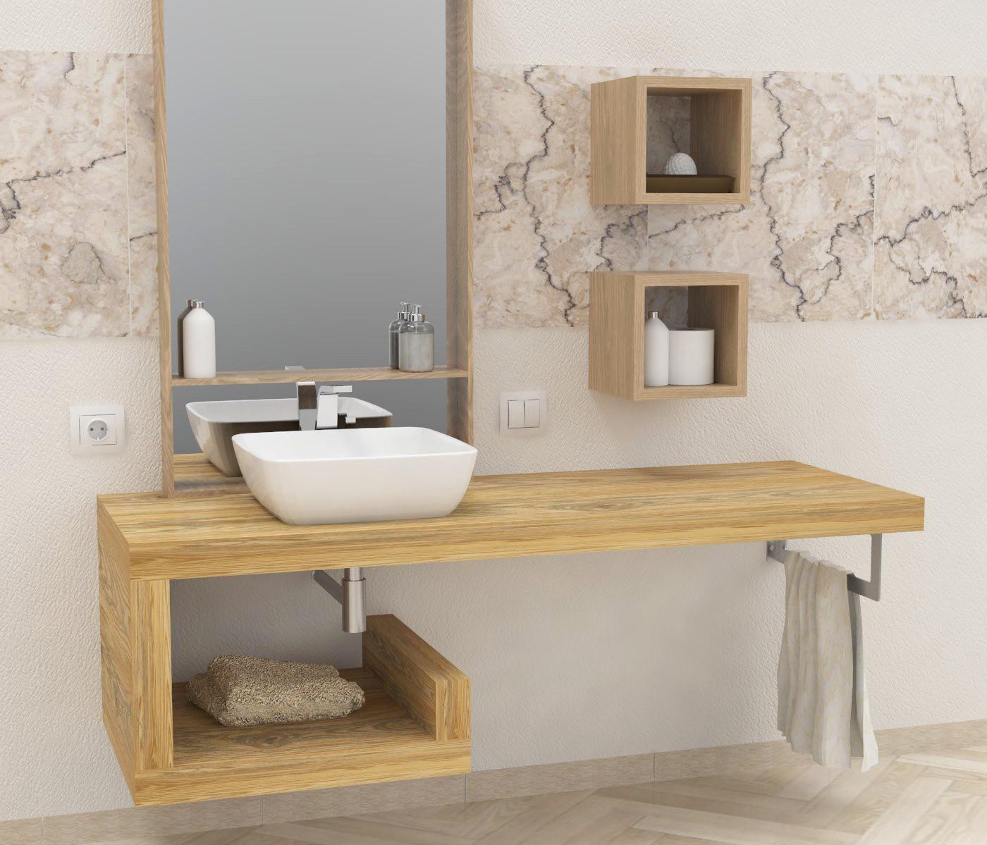 Mensola lavabo a g in legno massello su misura spessore 5 for Mensole arredo bagno