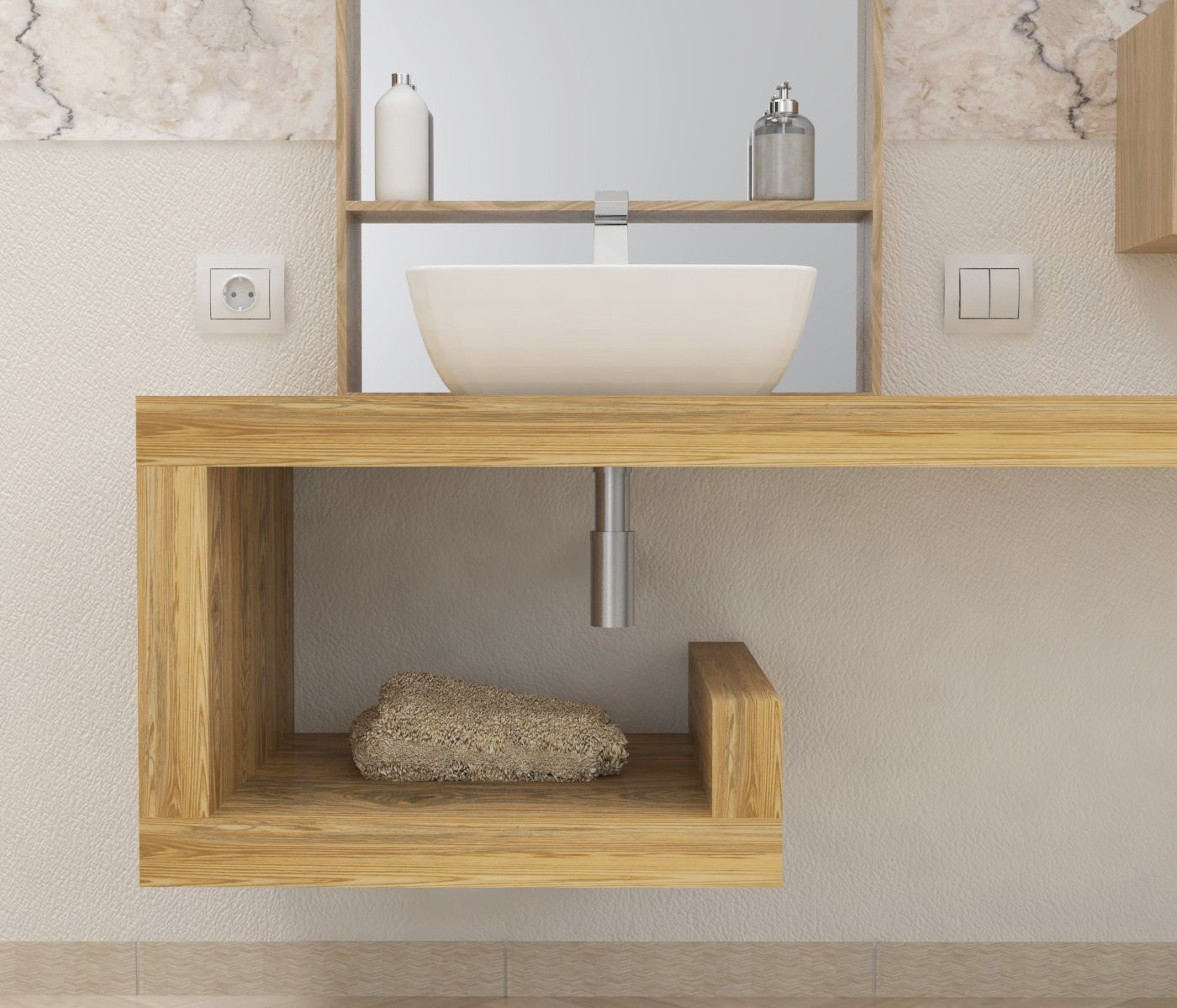 mensola lavabo a g in legno massello su misura spessore 5 cm mobile bagno ebay. Black Bedroom Furniture Sets. Home Design Ideas