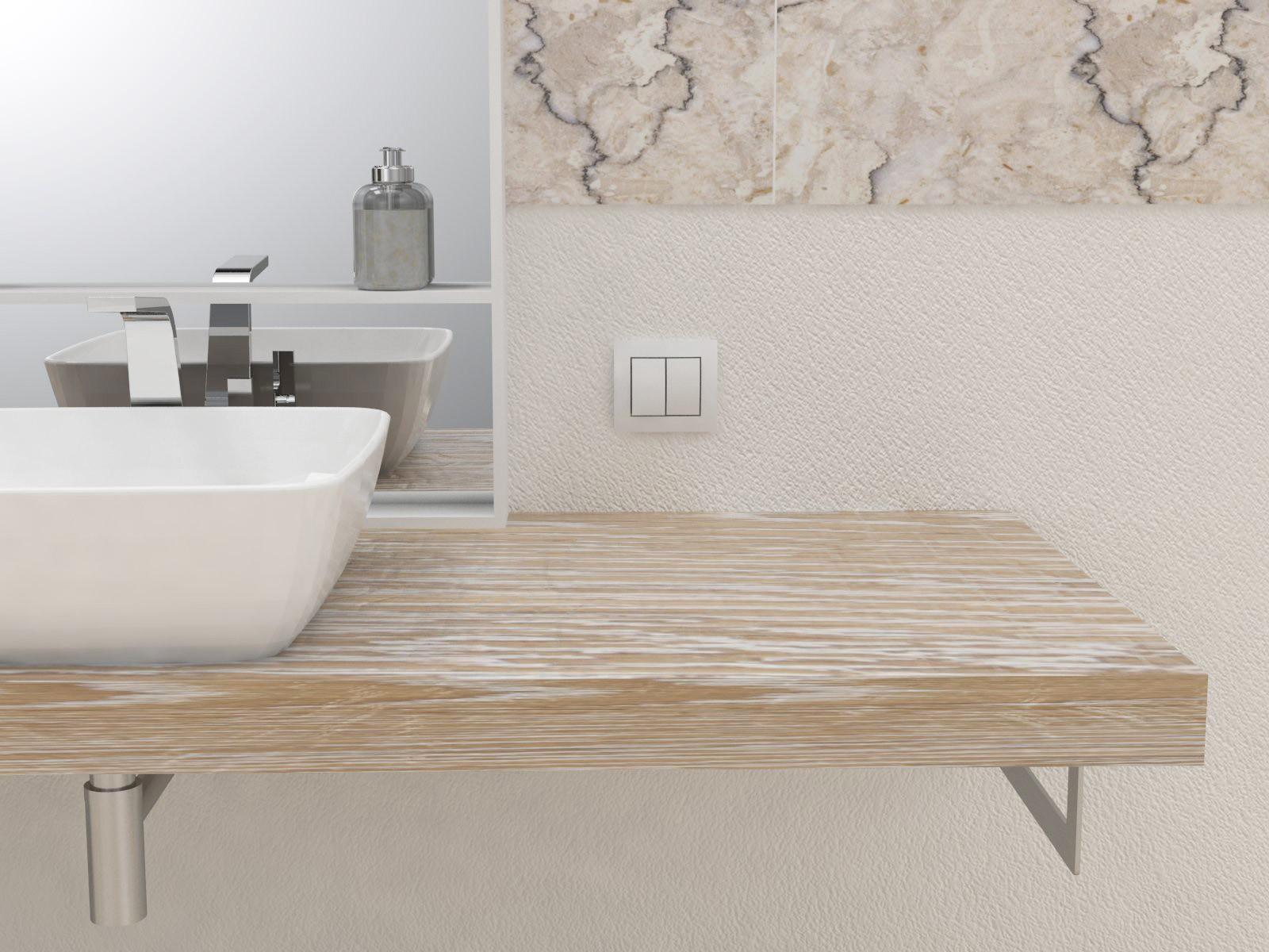 Ripiani In Legno Per Bagno : Mensola lavabo in legno massello su misura spessore 5 cm design per