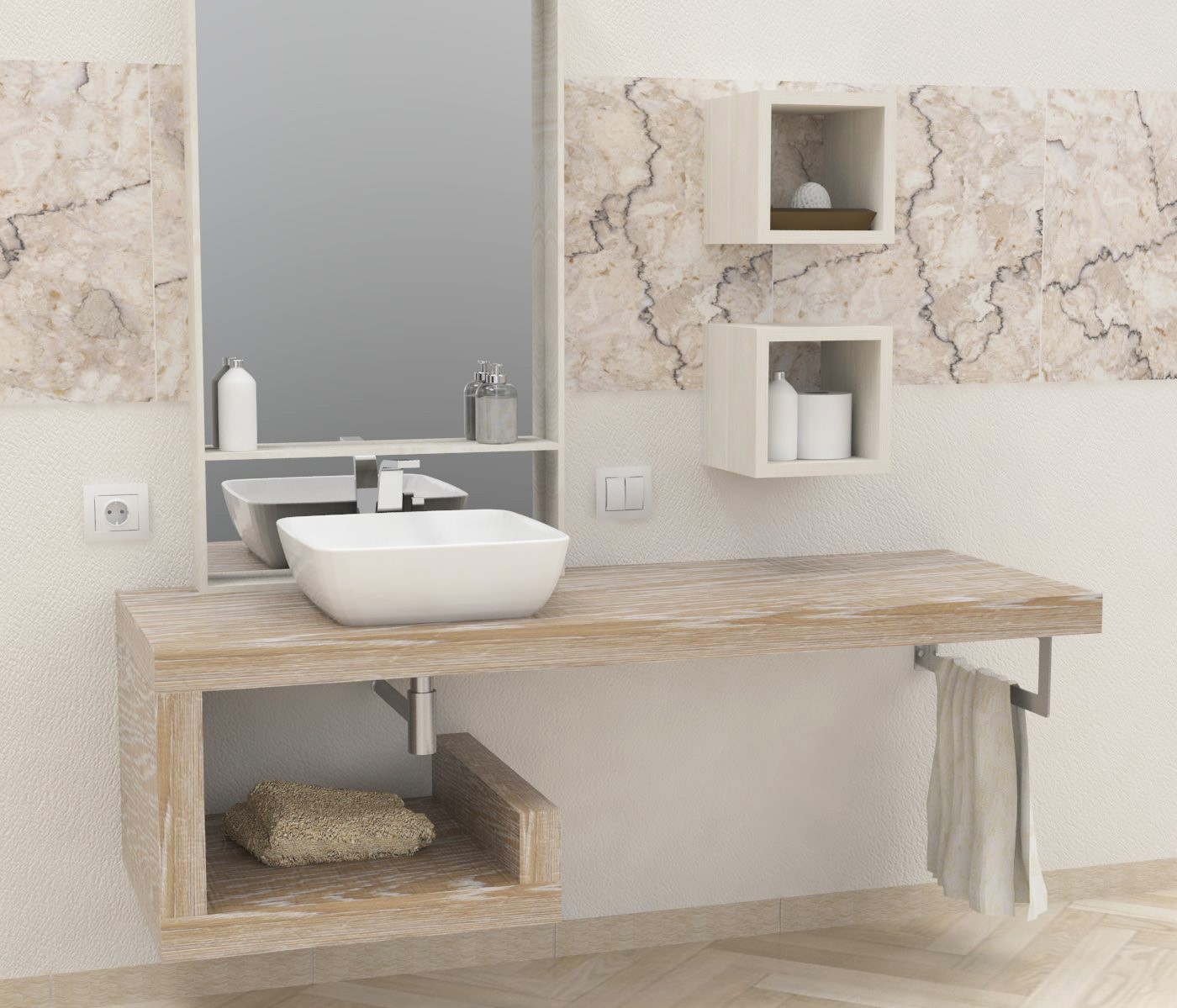 Mensola lavabo a g in legno massello su misura spessore 5 for Mensole bagno design