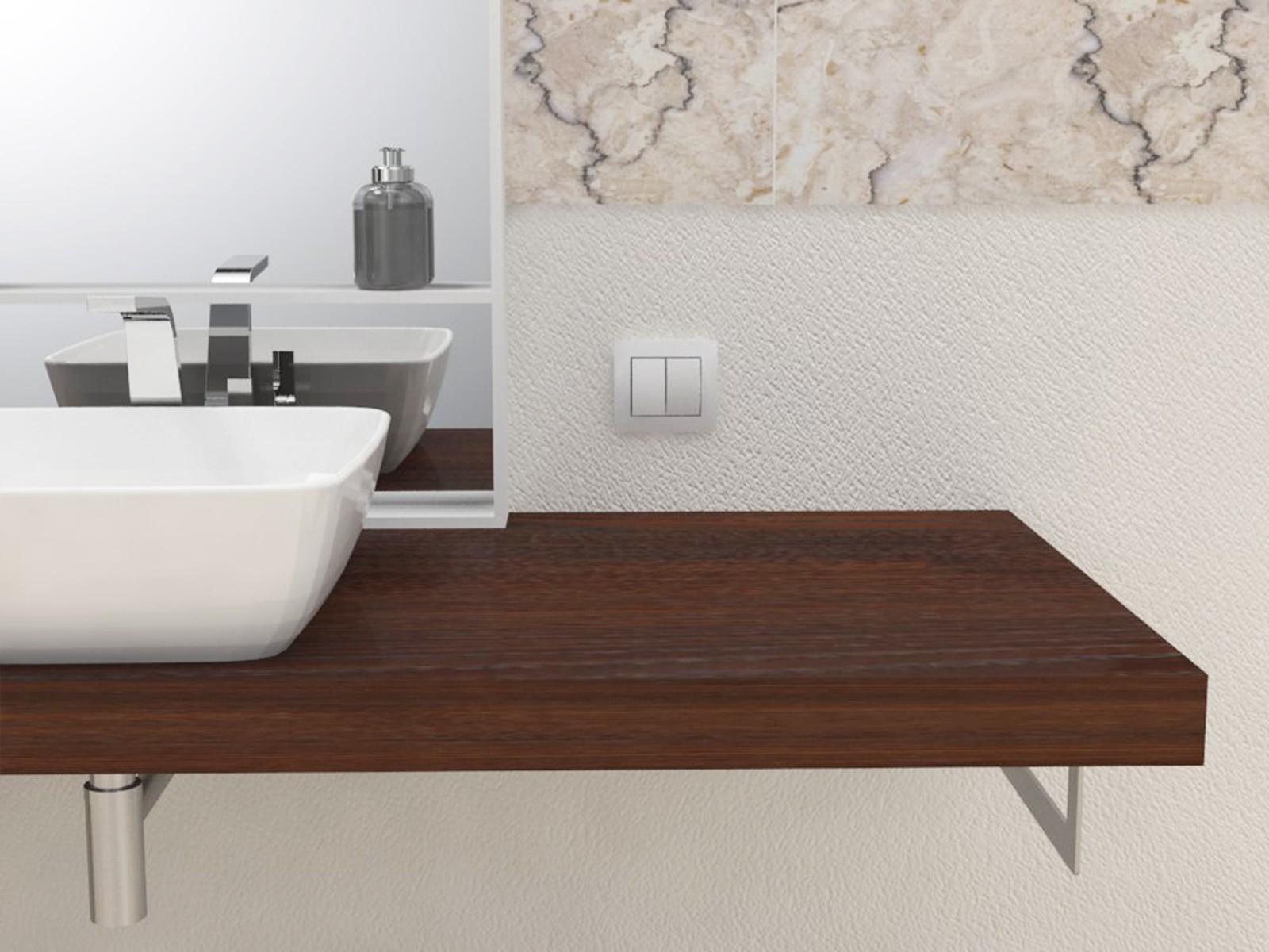 mensola lavabo in legno massello su misura spessore 5 cm