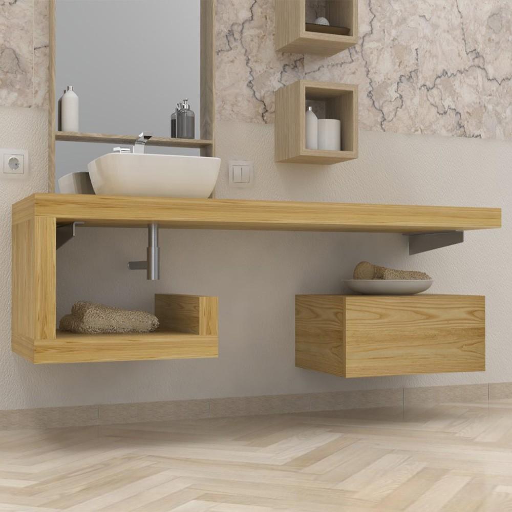 Mensola lavabo a g in legno massello su misura spessore 5 for Mensola lavabo