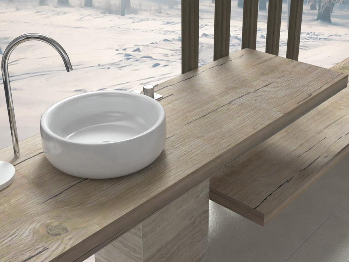 Mensole per lavabo da appoggio arredo bagno finiture legno - Lavello bagno appoggio ...