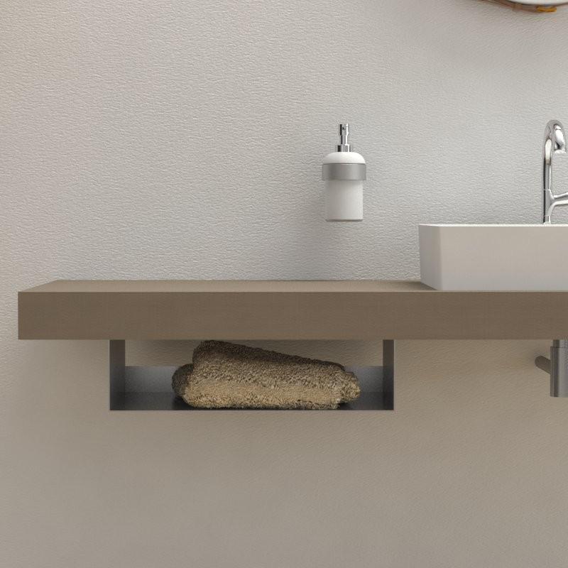 Porta asciugamani portaoggetti under 50 cm per mensola for Mensola lavabo